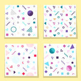 Set of  four white avant-garde seamless patterns with colorful  Stock Photography