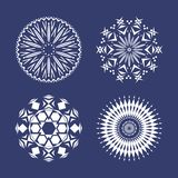 Set of four white snowflakes royalty free illustration