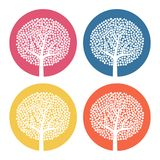 Set of four white trees with leaves on colorful round background. Vector illustration Stock Photography