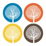 Set of four white trees with leaves on colorful round background. Vector illustration Royalty Free Stock Images