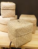Set of Four Wicker Baskets Made From Bamboo Stock Photography