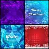 Set of four winter backgrounds. Winter frame with snowflakes. Christmas Greeting Card. New Year background with space Stock Photo