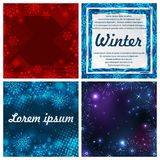 Set of four winter backgrounds. Winter frame with snowflakes. Christmas Greeting Card. New Year background with space Royalty Free Stock Photo