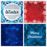 Set of four winter backgrounds. Winter frame with snowflakes. Christmas Greeting Card. New Year background with space Stock Photos