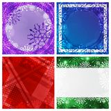 Set of four winter backgrounds. Winter frame with snowflakes. Christmas Greeting Card. New Year background with space Stock Images