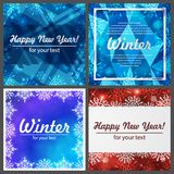 Set of four winter backgrounds. Winter frame with snowflakes. Christmas Greeting Card. New Year background with space Stock Photography