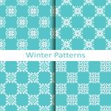 Set of four winter blue geometric patterns Stock Image
