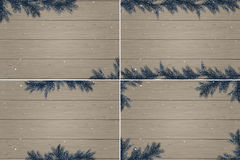 Set of four winter wooden backgrounds Royalty Free Stock Photography