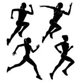 Running woman. Sport. Vector illustration. A set of four women or girls who run. Vector illustration Stock Images