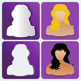 Set of four womens custom icons Royalty Free Stock Photos