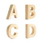 Set of four wooden block characters Stock Photo