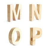 Set of four wooden block characters Stock Photos