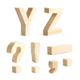 Set of four wooden block characters Royalty Free Stock Image