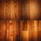 Set of four wooden textures background patterns Royalty Free Stock Photos