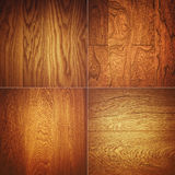 Set of four wooden textures background patterns Royalty Free Stock Images