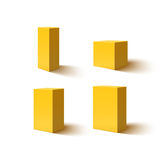 Set of four yellow blank boxes. Set of four 3d yellow blank boxes. Box icons for your projects. Box designs. Vector illustration Stock Photos