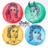 Set of four zodiac signs 3 Royalty Free Stock Photo