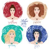 Set of four zodiacs- Sagittarius, Capricorn, Aquarius and Pisces Stock Photo