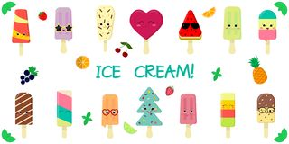 A set of fourteen cute kawaii character smile ice cream, with fruit and chocolate flavor on a stick, juicy fruits and. Berries on a white background and text vector illustration
