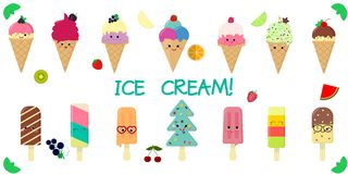 A set of fourteen cute kawaii character smile ice cream, in a waffle cup and on a stick, juicy fruits and berries on a. White background and text. Flat style royalty free illustration