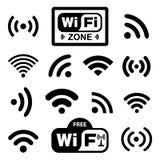 Set of fourteen different black wireless Royalty Free Stock Photos