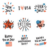 Set of Fourth July badges. Vector hand drawn text and symbols. Can be used for Independence Day decoration Stock Illustration