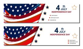 Set of Fourth of july cards. Happy Independence Day cards. Set of Fourth of july cards Happy Independence Day cards Vector illustration Royalty Free Stock Photos