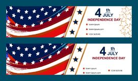 Set of Fourth of july cards. Happy Independence Day cards. Set of Fourth of july cards Happy Independence Day cards Vector illustration Stock Images
