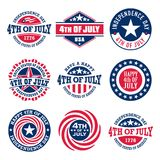 Set of Fourth of July vintage labels commemorating United States Independence Day, 1776. Collection of Fourth of July vintage labels commemorating United States royalty free illustration