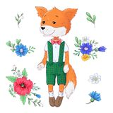 Set of fox flowers. Hand drawing Vector illustration.  royalty free illustration