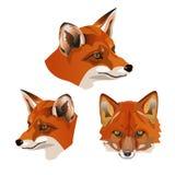 Set of fox heads royalty free illustration