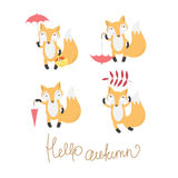 Set with foxes. Autumn set with four cute cartoon foxes and umbrellas Royalty Free Stock Photography