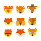 Set foxes. Vector  muzzle  different nature Stock Images