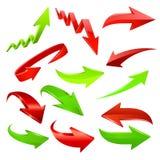 set för serie för grön symbol för pil röd vektor Fotografering för Bildbyråer