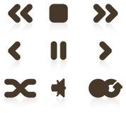 set för symbolsmedelspelare Arkivfoto