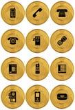 set för telefon för symboler för myntguld Arkivfoton