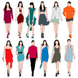 Set för vektor för Silhouettes för modemodeller Royaltyfria Bilder