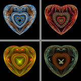 Set of Fractal Hearts Stock Images