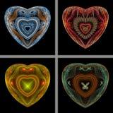 Set of Fractal Hearts. A set of four fractal hearts on black background Stock Illustration