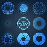 Set fractal and swirl shape element on blue background. Vintage Royalty Free Stock Photos