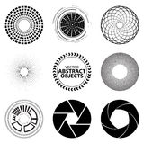Set fractal and swirl shape element. Vintage monochrome differen Royalty Free Stock Images