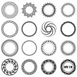 Set fractal and swirl shape element. Vintage monochrome differen Stock Photo
