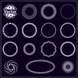 Set fractal and swirl shape element. Vintage monochrome differen Stock Images