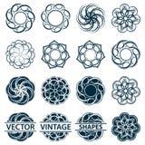 Set fractal and swirl shape element. Vintage monochrome differen Stock Photos