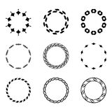 Set fractal and swirl shape element. Vintage monochrome differen Stock Photos