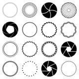Set fractal and swirl shape element Royalty Free Stock Photo