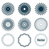 Set of fractal and swirl shape elements. Stock Photos