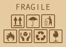 Set of fragile symbols Royalty Free Stock Image