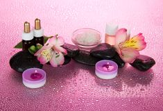 Set of fragrant oils, salt, candles, stones Stock Photo