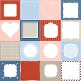 Set of 16 frame, border lace and background design for application mobile. Nautical frame theme, valentine frame theme, post office background theme, vintage Stock Illustration
